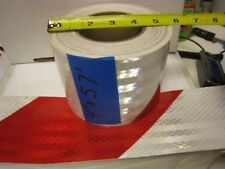 "WHITE RED Reflective Diagonal Stripe  Conspicuity Tape 4"" x 57'"