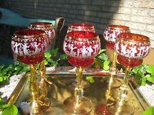 6 Murano Wein Gläser Rot mit Emaillemalerei und Gold - 50 / 60er Jahre