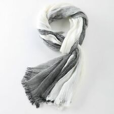 Fashionable Winter Scarf Warm Tassel Wraps Plaid Woven Wrinkled Cotton For Men