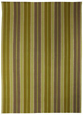 Contemporary Sundance Striped Green and Gray Hand Knotted Rug N10533