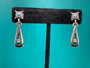 🌸 BRIGHTON Silver Howlite Dangle Post Earrings (E19) 🌸