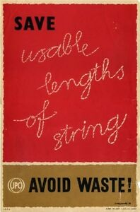 1950's GPO Internal Information Poster I.R.P 6 - SAVE STRING...AVOID WASTE