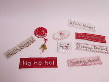 Pack of 10 Mixed Christmas Card Embroidered Motif Patch Stick Sew On Badge #2F22
