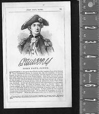 John Paul Jones - Naval Hero- 1855 Page of History Wood Engraved Portrait
