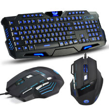3 Colors LED Backlit Illuminated Gaming Keyboard and Colorful Optical Mouse Set