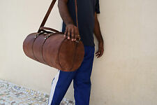 "24"" Vintage Leather Duffle Bag Gym Sports Barrel Yoga Travel Luggage Handbag"