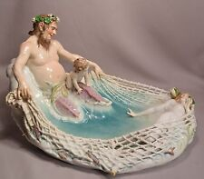 Monumental Antique Meissen Porcelain Triton Netting A Beautiful Nude Nymph
