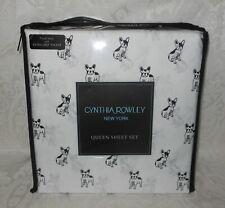 4 Pc Cynthia Rowley French Bulldogs Queen Sheet Set Bedding NEW FREE SHIPPING