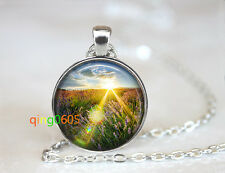 Beam of Light, Lavender glass dome Tibet silver Chain Pendant Necklace wholesale