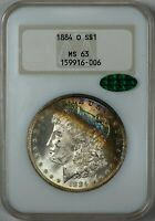 1884-O Morgan NGC MS-63 CAC, Rainbow Crescent Toned Silver Dollar in Old Holder!