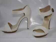 "Madison ""Aisling"" hi-heel white reptile look sandal - Size 11, w5.5"" heel - New"