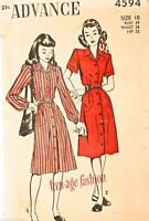 Vintage 1940s Sewing Pattern Advance #4594 Dress Size 10 Bust 29 Waist 24 Hip 32