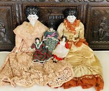 Antique Victorian Classic China Head 5 Dolls Lovely Black Hair