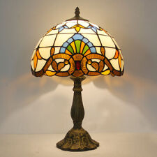 "Dia 11.81"" H18.1"" Tiffany Style Baroque Stained Glass Table Reading Lamp"
