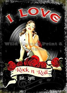 RETRO METAL PLAQUE :I love rock and roll sign/ad