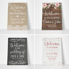 Personalised Welcome Wedding Signs - Rustic Wedding Table Plan Sign Poster