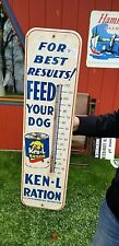 Vintage Ken L Ration dog food Pet farm Thermometer Sign W/ Can & Dog GraphicsT
