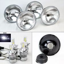 "FOUR 5.75"" 5 3/4 OE Round Glass Headlight Conversion w/ 36W LED H4 Bulbs Mercury"