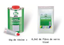 BOLL-1 kilo de resine polyester + catalyseur+ fibre de verre tissé, bateaux