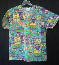 Apple Life Womens Size Small Multi-Color Scrub Top  Girls Playing Dress Up