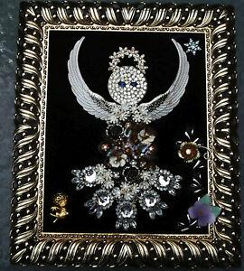 OOAK Jewelry Art Framed Handmade Angel Folk art Gold Metal Frame