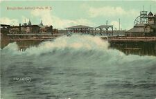 Asbury Park New Jersey~Rough Sea Against Pier~Ferris Wheel~Rides~Tower~1910