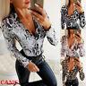Women's Sexy Blouse Deep V-neck Long Sleeve Snakeskin Leopard Print T-shirt Tops