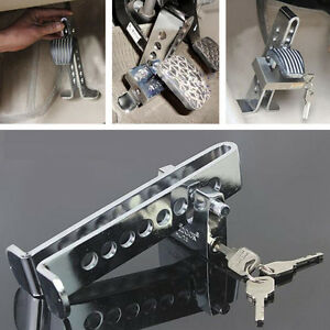 Car Brake 8 Hole Lock Stainless Steel Clutch Anti-Theft Security Device Chrome