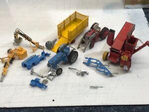 CORGI.FORD 5000 & MASSEY 65 TRACTOR'S,TRENCH BUCKET,PLOUGH,TRAILER,COMBINE.SOR