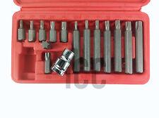 """15pc star torks torx bit set 1/2"""" drive socket T20 - T55 30mm 75mm case mechanic"""