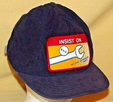 BAC HAT FACTORY AUTHORIZED PARTS BASEBALL BALL CAP WINTER NAVY CORDUROY PATCH.