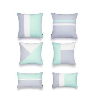 Hofdeco Outdoor Throw and Lumbar Patio Cushion Cover Color Block Aqua Opal Blue