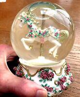 "SAN FRANCISCO MUSIC BOX CO. HORSE CAROUSEL WALTZ WATER GLOBE-1994- ""NEW""#00990"