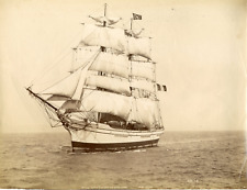 France, french navy, three-masted barque, the closest vintage albumen print