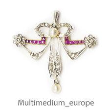 750 18ct Jugendstil Gold Anhänger Diamant Rubin pendant diamond ruby art nouveau