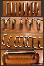 """8 Handles Pulls Wide Bar Silver Plastic Cabinet Drawer 3.75"""" Arch Mid Century"""