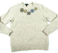J Crew Beige Speckled Floral Jewel Beading Embellished Wool blend Sweater Medium