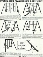 1952 Print Ad of Sturdy-Line Playground Equipment Play Outfits Swings Teeters