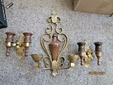Hollywood Regency Wood & Gold Metal Double Wall Candle Sconce & 2 Single Homco