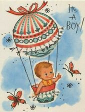 Vintage Its A Boy Birth Announcement Hot Air Balloon Greeting Card Unused 1960s