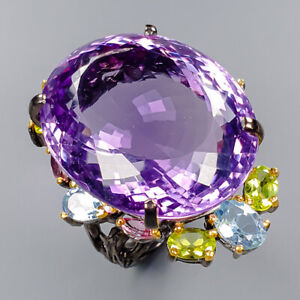Amethyst Ring Silver 925 Sterling 50 ct+ IF AAA Gem  Size 7 /R148410