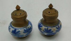 Vintage Porcelain & Brass Blue Floral Salt & Pepper Shaker Set  5/8 Holes