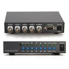4CH VGA CCTV Security Camera Video Quad Processor Splitter with Remote Control