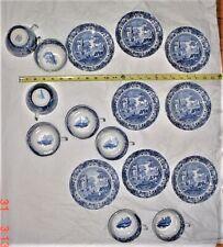 SPODE Italian Blue Camilla 8-Cups & 8-Saucers. England