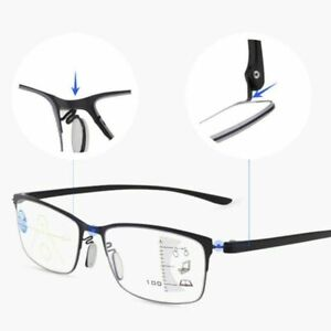 Men Women Reading Glasses Progressive Varifocal Lens +4 Glasses Metal Frame Z1T7