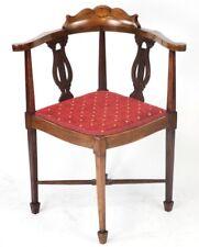 Antique Inlaid Walnut Corner Chair - FREE Shipping [PL4554]