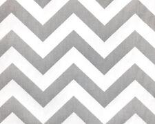 Drapery Upholstery Fabric 100% Cotton Twill Chevron - Gray and White