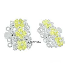Fine Sterling Silver 4-strand Flower Pearl Box Clasp with CZ Yellow #51463