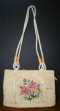 VTG Needlepoint Purse Handbag Sling UNIQUE Hemp/straw 1950s OOAK!