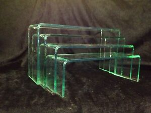 5 MM ACRYLIC PERSPEX 6T21 GLASS LOOK CABINET RISERS /DISPLAY BRIDGES SET OF 4